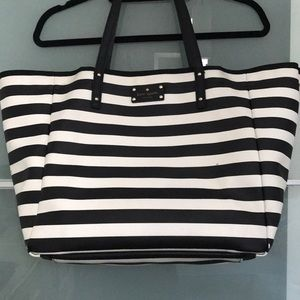 Kate Spade Striped Tote Black and White